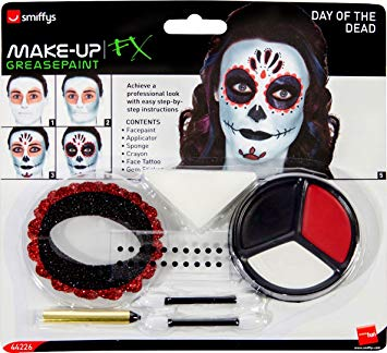 Smiffy's 44226 Day Of The Dead Make-up Kit With Face Paints (one Size)